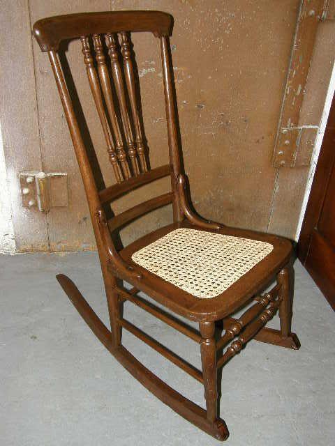 Antique Oak Cane Bottom Rocking Chair From Stockade 39n