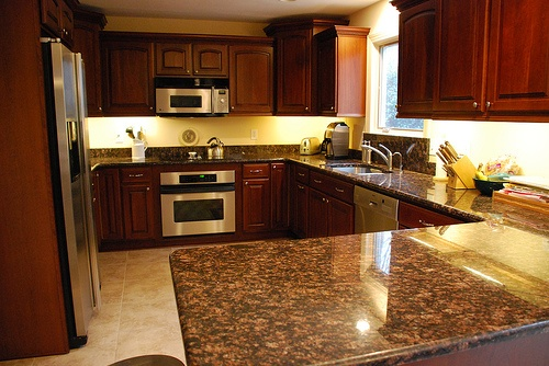 Yellow Kitchen With Dark Brown Cabinets Yellow Walls, Cherry Cupboards, Brown Counter, Tan Floor