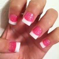 Sparkly pink and white tips :) | Nails | Pinterest ...
