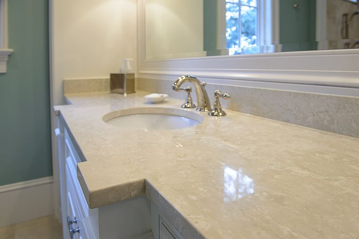 Beveled Bathroom Vanity Mirror Master Bath Vanity - Botticino Fiorito Marble Countertops