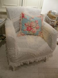 custom shabby chic chair s vintage chenille bedspread ...
