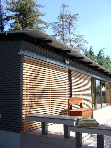 Carport Modern Design Sliding Wood Slats Can Make Glass Doors More Secure During