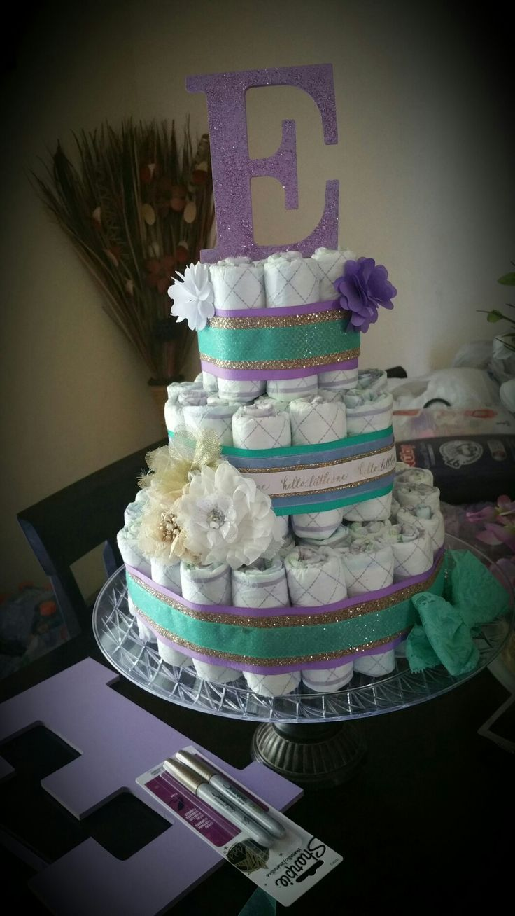Newborn Bassinet Best Diaper Cake Purple And Teal And Gold Beautiful Baby
