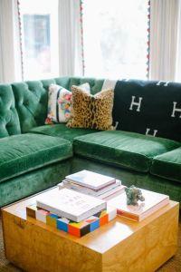 Tufted green velvet sectional | Green Sofa Inspired ...