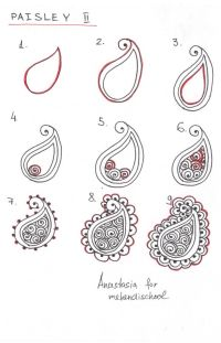 How to draw indian mehndi henna paisley. Small tutorial ...