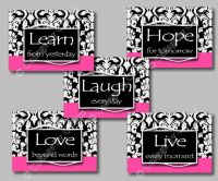 Black Hot Pink DAMASK Print Wall Art Girl Room Decor HOPE ...