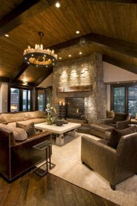 Beautiful rustic living room - vaulted wood ceiling, stone ...