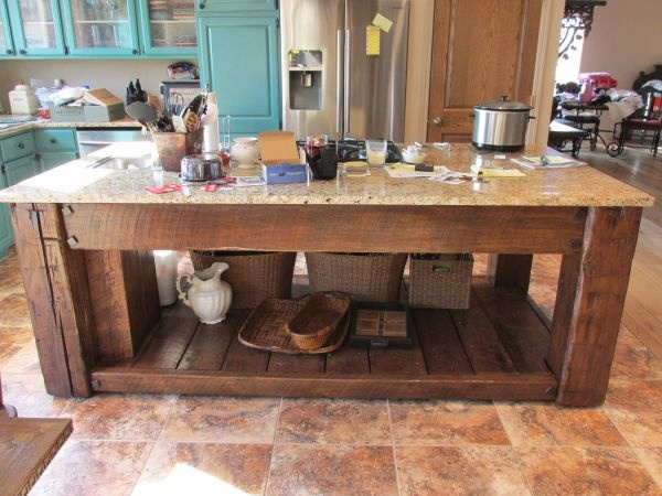 Old Barn Wood Kitchen Island Reclaimed Barn Wood Kitchen Island | Old Things Repurposed