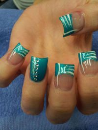 Turquoise French Tip Nails   www.imgkid.com - The Image ...
