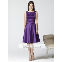 Majestic Purple Satin Short Bridesmaid Dress With Deep