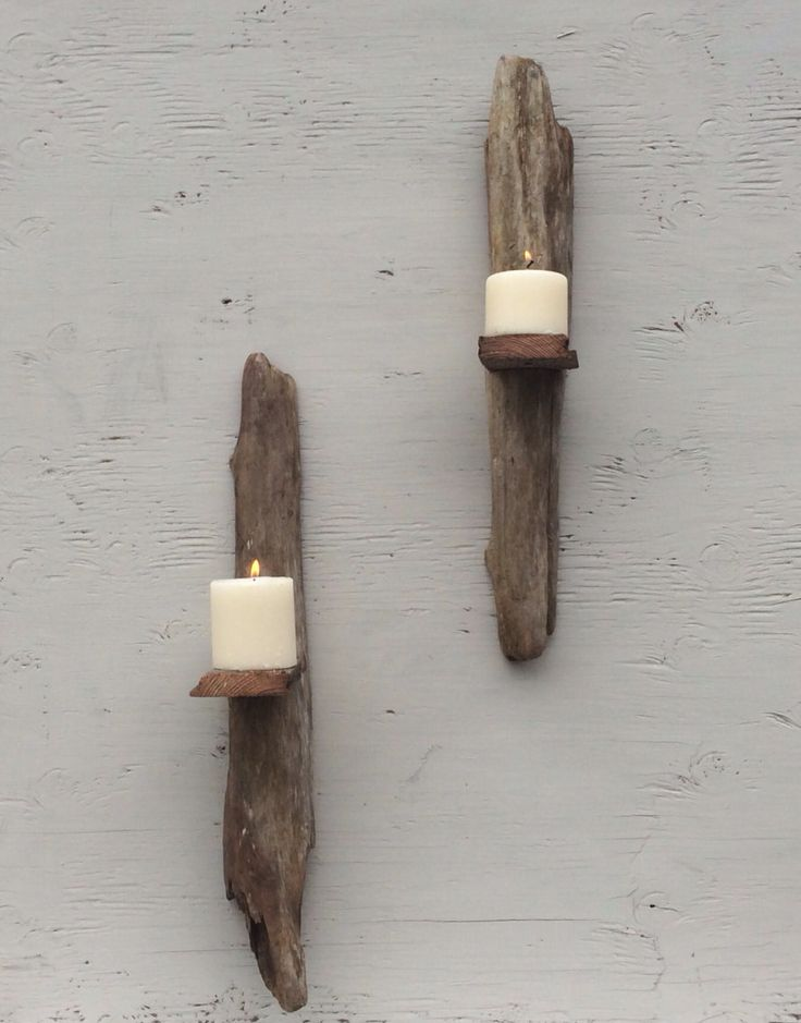 Wall Hanging Drift Wood Pillar Candle Holder Sconce Home