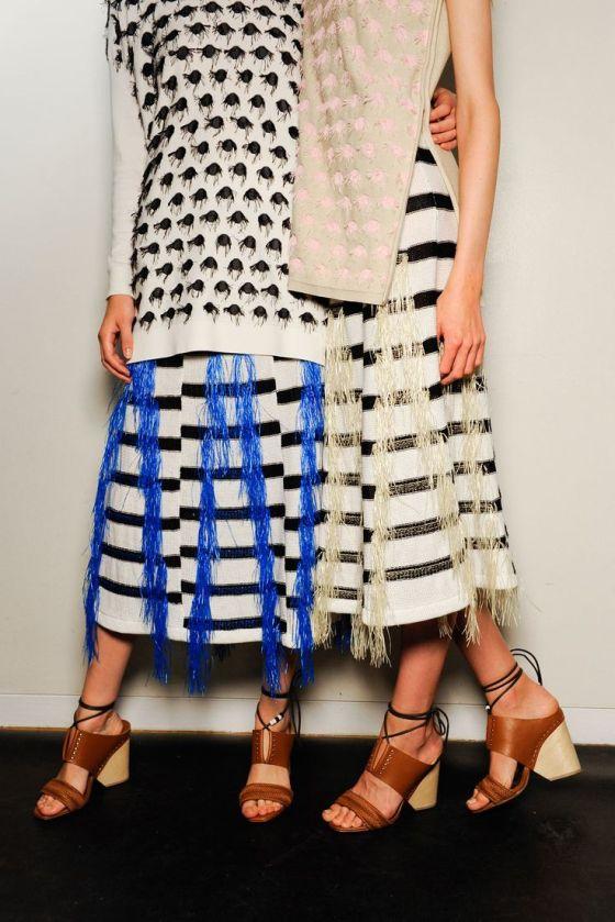 fringe & stripes -- Backstage at Thakoon #style #fashion