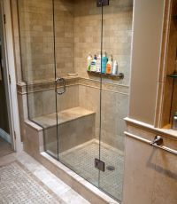 tiled shower enclosures with seat | Marble inlay tile ...