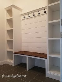 Beautiful mudroom bench with shiplap back and dual side ...