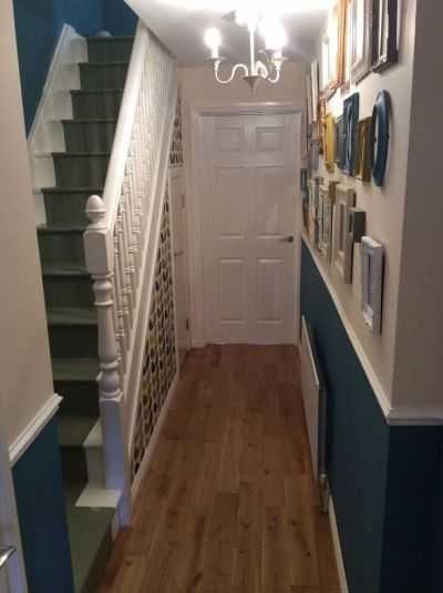 Orla kiely wallpaper painted staircase charity shop frames painted dado rail hall teal sage ...
