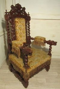 Stunning Victorian Gothic Carved Oak Throne Chair | Throne ...