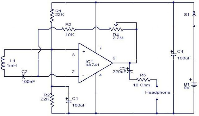 electromagnetic field sensor electronic circuits and diagram