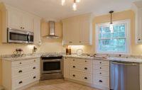 White Cabinet Kitchen - corner range, stainless appliances ...