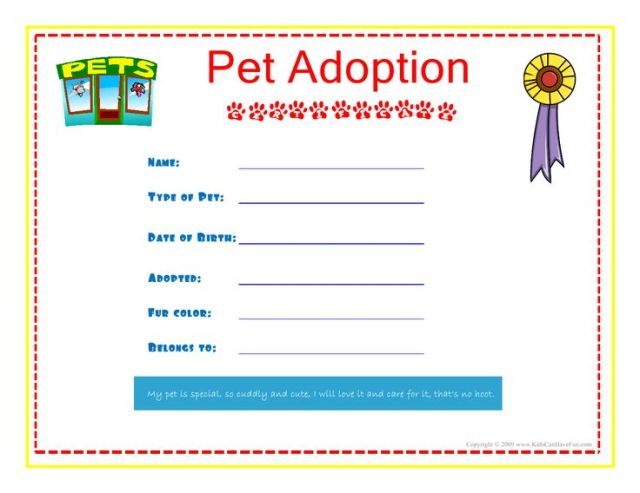 Pet Adoption Certificate for the kids to fill out about their pet More