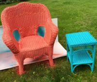 Second hand worn wicker patio furniture turned fun ...
