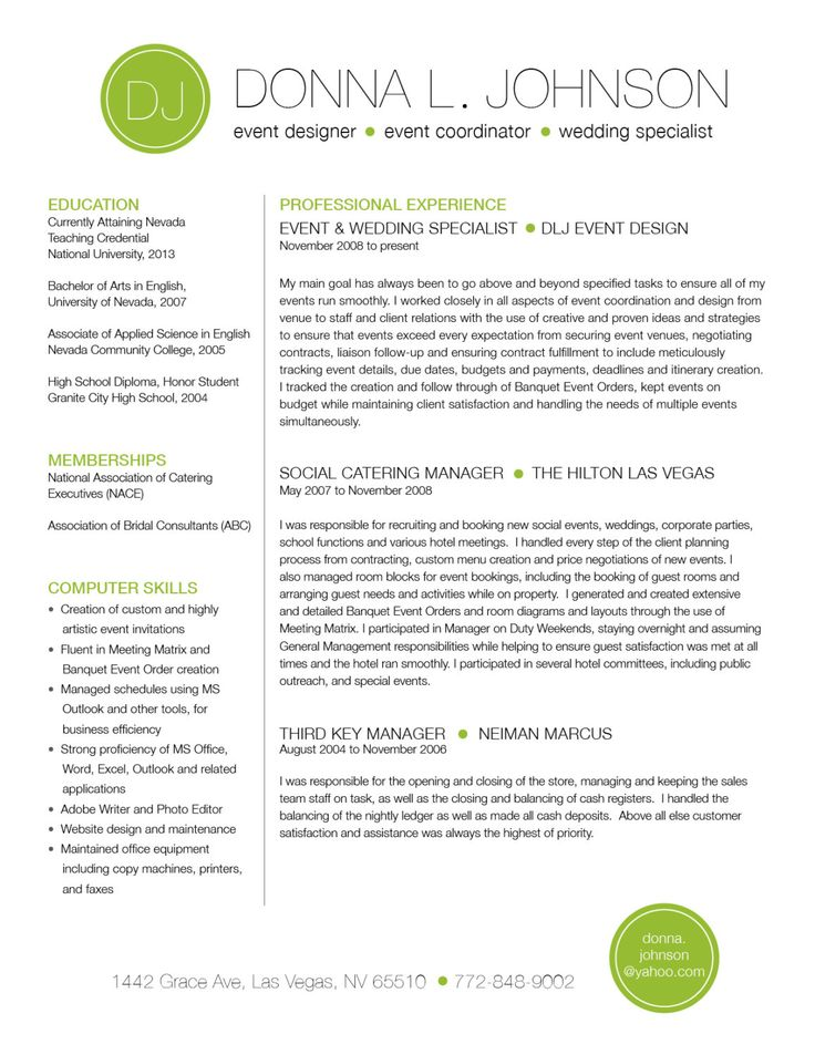 Custom Two Page Resume Template Color Circle Initials