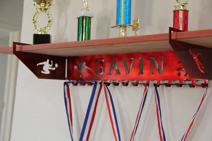 Soccer Trophy Shelf And Personalized Medals Display
