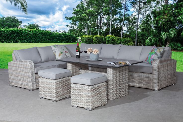 Lounge Tuinmeubelen Garden Impressions Portland Lounge-diningset P.willow-sand
