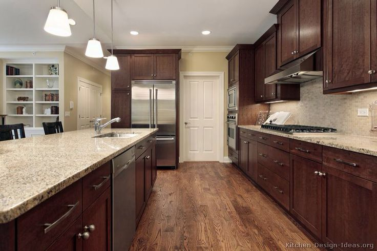 Installing Kitchen Cabinets Over Floating Flooring Oak Floors With Dark Walnut Cabinets | Kitchen Remodel
