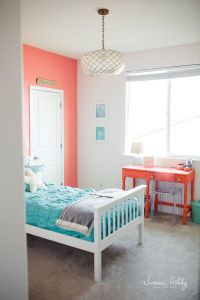 girls bedroom, coral and teal | Kids Room Decorating Ideas ...