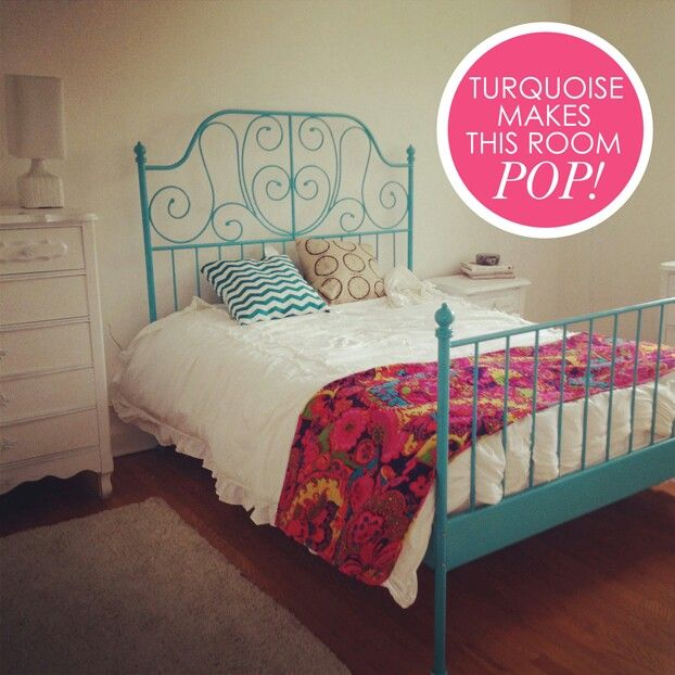 Ikea Leirvik Bed Turquoise-painted Leirvik Bed Frame From Ikea! | Mi Casa