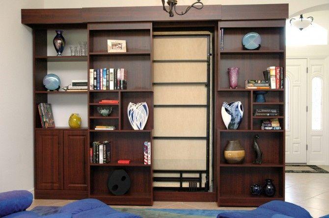 Sliding Doors Secret Sliding Bookshelf Hides Murphy Bed