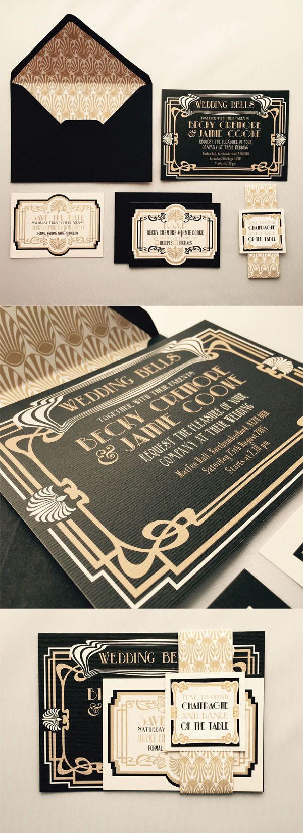 great gatsby invitation great gatsby wedding invitations Art Deco wedding invitations These pretty black and gold s wedding invitations would be perfect Great Gatsby