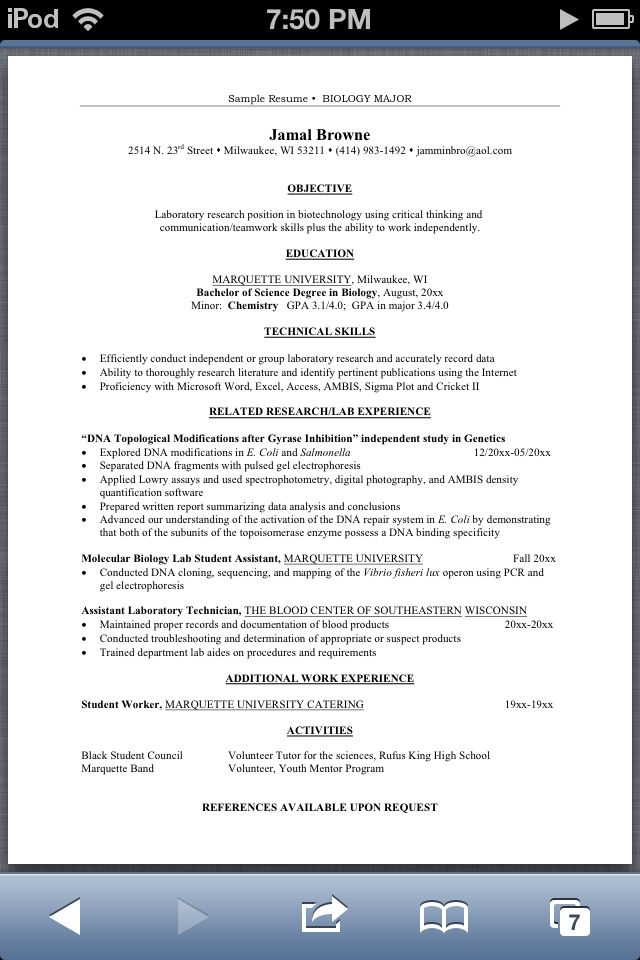 resume examples for biology majors