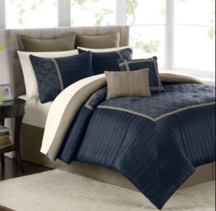 Plaid Taupe Mens Bedroom Beiges Navy Blue Dark Brown Small Bed | Study ...