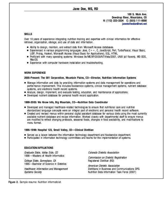 dietitian resume summary statement