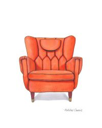 Mid Century Modern Chair Drawing, Orange Nectarine - 8x10 ...