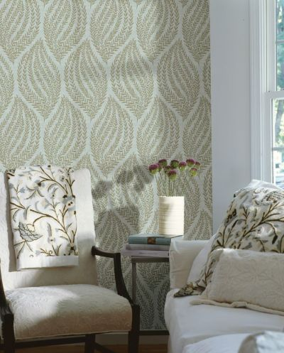 living room decor idea feature wall wallpaper contemporary leaves | Home | Pinterest | Feature ...