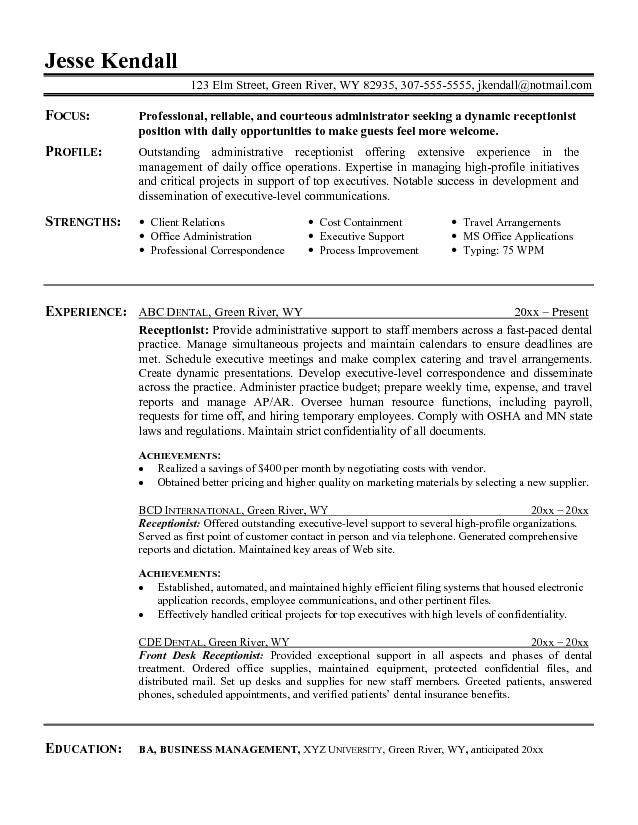 resume title examples of resume titles resume title sample resume - entry level receptionist resume