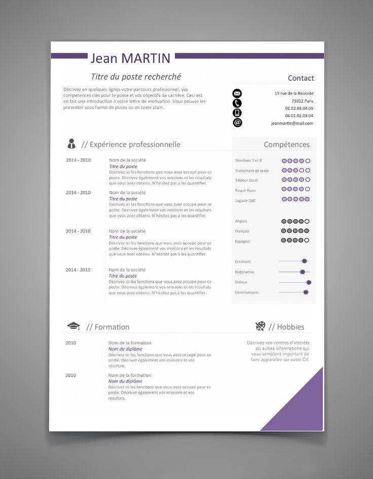 cv gratuit template word