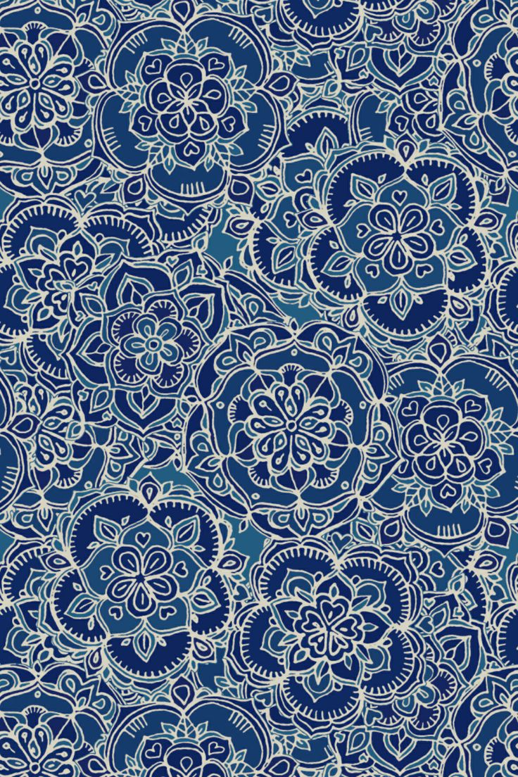 Floral Print Iphone Wallpaper A Zentangle Doodle Pattern In Indigo Blue Amp Navy By