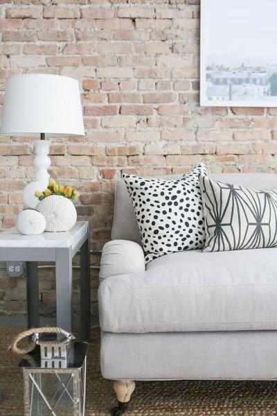 Faux Brick Wallpaper. Living Room Wallpaper. Room Inspiration. Rustic Inspired.   Chelsea Lane ...
