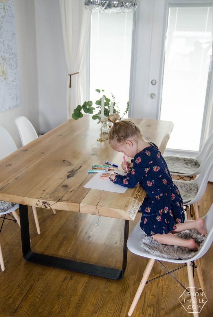 modern table modern kitchen table DIY Live Edge Wood Dining Room Table with Steel Legs uhhhhm love this