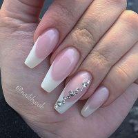 Coffin nails: French + Diamond. Classy & Elegant #nail # ...