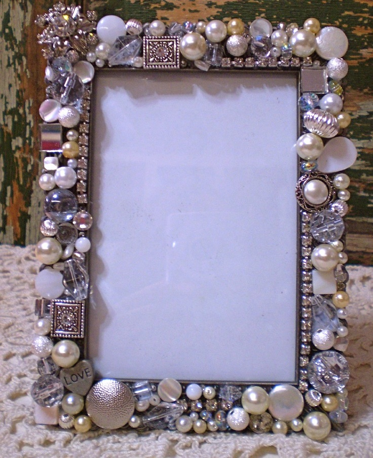 Schmuck Bilderrahmen Mosaic Shabby Jeweled Frame With Vintage Rhinestones And