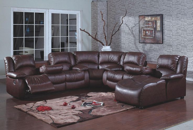 Pc Sofa Set Up 4 Pc Brown Bonded Leather Sectional Sofa With Recliners