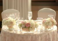 Sweetheart table decor: flowers and overlay | My Vintage ...