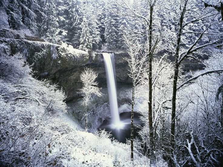 Snowfall Live Wallpaper For Iphone Silver Falls State Park Wintry Waterfall Silver Falls