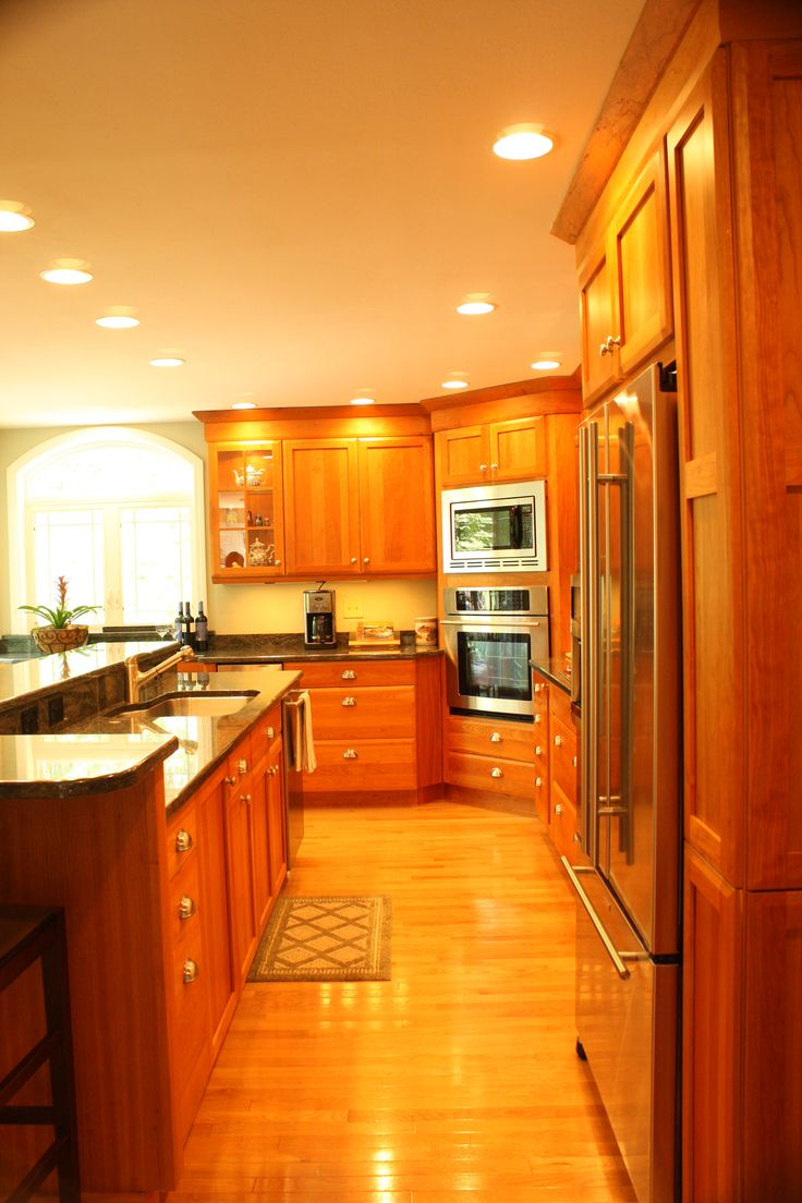 cherry wood cabinet kitchens cherry wood cabinets kitchen Cherry Wood Cabinet Kitchen stainless steel appliances corner built in microwave oven unit