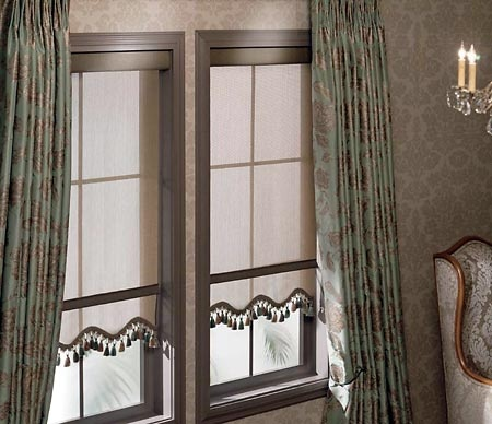 Dress up a roller shade with scalloped edges, decorative
