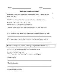Similes and Metaphors Worksheet | Englishlinx.com Board ...
